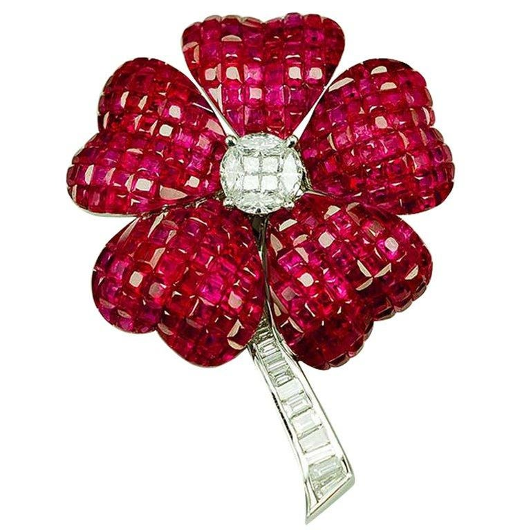 18K White gold invisible Ruby Flower Brooch For Sale