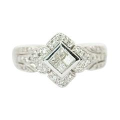 18k White Gold Invisible Set Princess Cut Diamond Ring