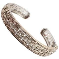 18 Karat White Gold Judith Ripka Diamond Hinged Bangle Bracelet