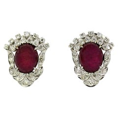 18 Karat Gold Ladies Clip-On / Stud Earrings with Cabochon Ruby and Diamonds
