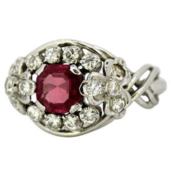 18 Karat White Gold Ladies Ring with Natural Ruby and Diamonds, 1970s
