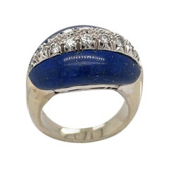 18k White Gold Lapis Lazuli & Diamond Ring