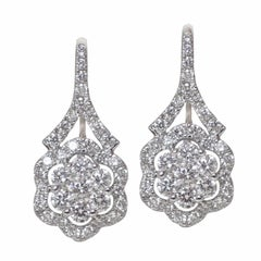 18 Karat White Gold Lever-Back Earrings with 1.01 Carat of Diamond