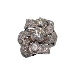 18k White Gold Mine Cut Diamond Antique Flower Ring