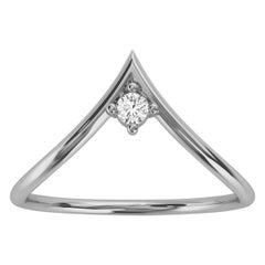 18K White Gold Minimalist Chevron Solitaire Diamond Ring 'Center - 0.07 Carat'