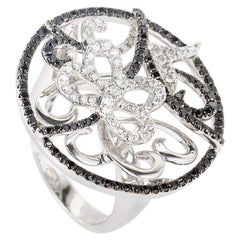 18 Karat White Gold Multi Diamond Butterfly Ring