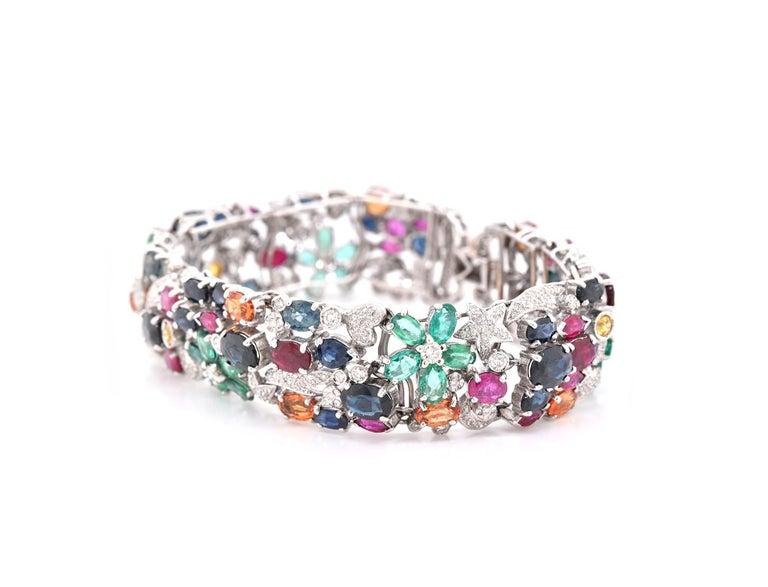 Oval Cut 18 Karat White Gold Multi-Gemstone and Diamond Floral Bracelet For Sale