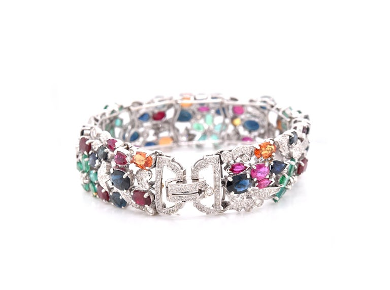 18 Karat White Gold Multi-Gemstone and Diamond Floral Bracelet In Excellent Condition For Sale In Scottsdale, AZ