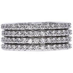 18k White Gold Multi-Row Diamond Band
