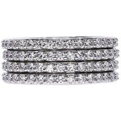 18k White Gold Multi-Row Diamond Band