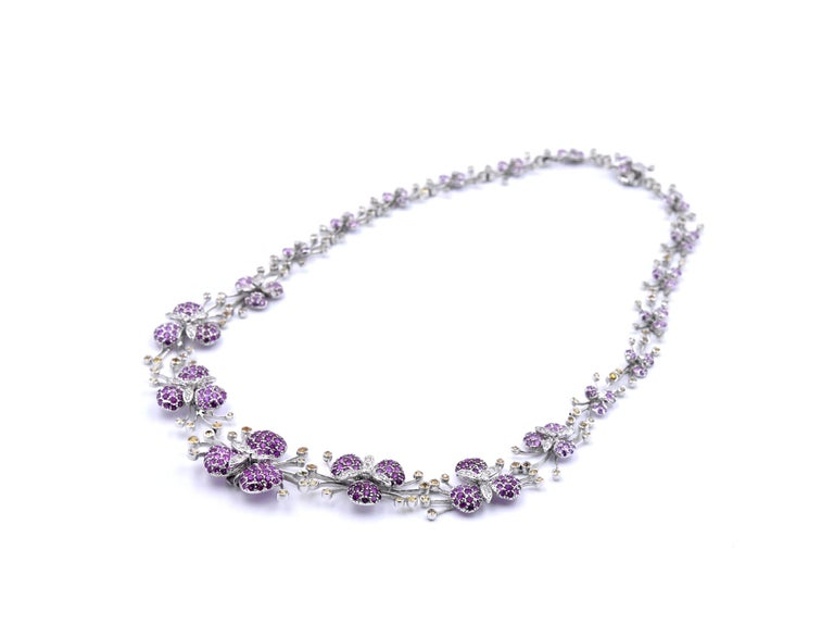 Round Cut 18 Karat White Gold Multicolored Sapphire and Diamond Floral Necklace For Sale