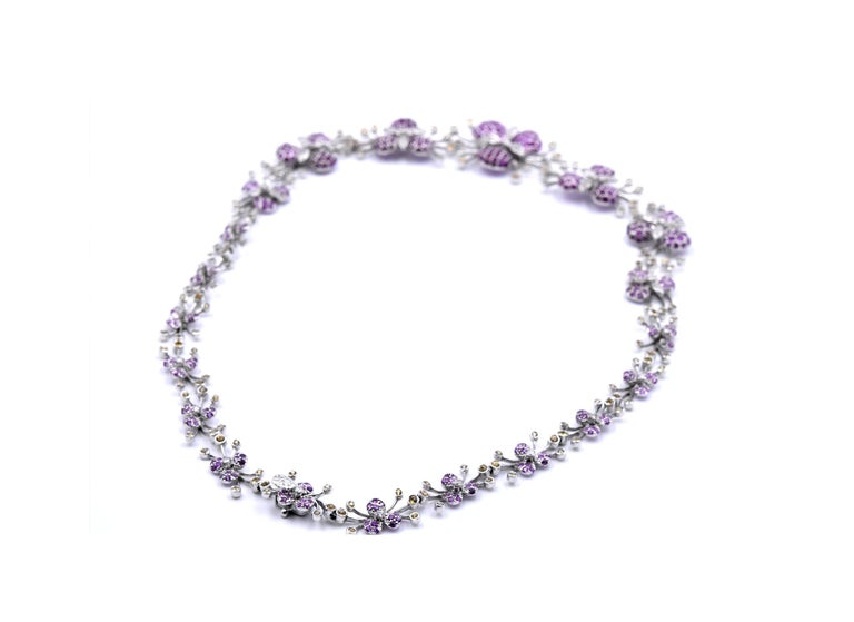 18 Karat White Gold Multicolored Sapphire and Diamond Floral Necklace In Excellent Condition For Sale In Scottsdale, AZ