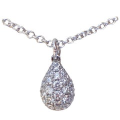 18 Karat White Gold Necklace with a 0.23 Carat Pavé Diamond Droplet Pendant