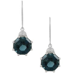 18K White Gold Octagon Lever Back Dangle Earrings w/London Blue Topaz & Diamonds