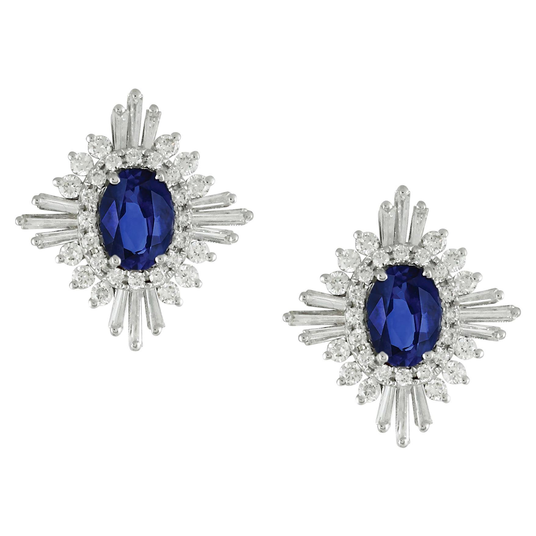 18k White Gold Oval Blue Ceylon Sapphire & Baguette Diamond Flower Stud Earrings