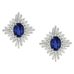 18k White Gold Oval Blue Ceylon Sapphire & Baguette Diamond Flower Stud Earrings