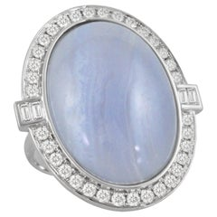 18K White Gold Oval Cabochon Blue Lace Agate Cocktail Ring w/ Baguette Diamonds