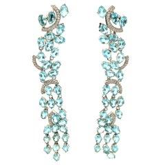 18K White Gold Oval Cut Blue Topaz and Diamond Drop Earrings