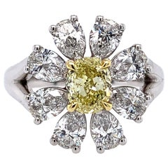18K White Gold Oval Fancy Yellow and Pear Shape Diamond Ring 0.80cttw