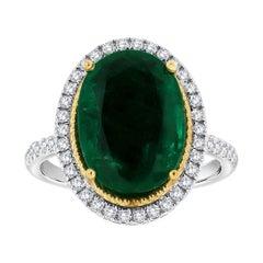 18k White Gold Oval Green Emerald Halo Diamond Ring, Center 7.65 Carat