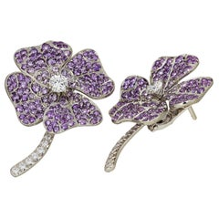 18k White Gold Palladium Amethyst White Diamonds Stud Earrings Aenea Jewellery