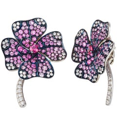 18k White Gold Palladium Pink Sapphire White Diamonds  Stud Earrings