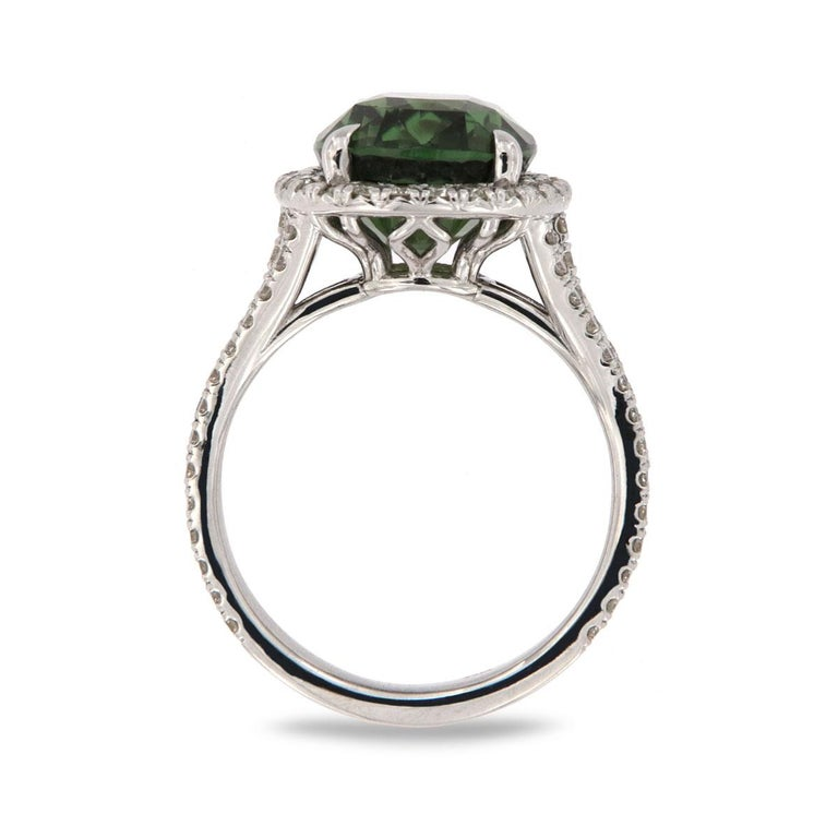 Contemporary 18 Karat White Gold Paulina Oval Alexandrite Halo Ring GIA 'Center - 6.65 Carat' For Sale