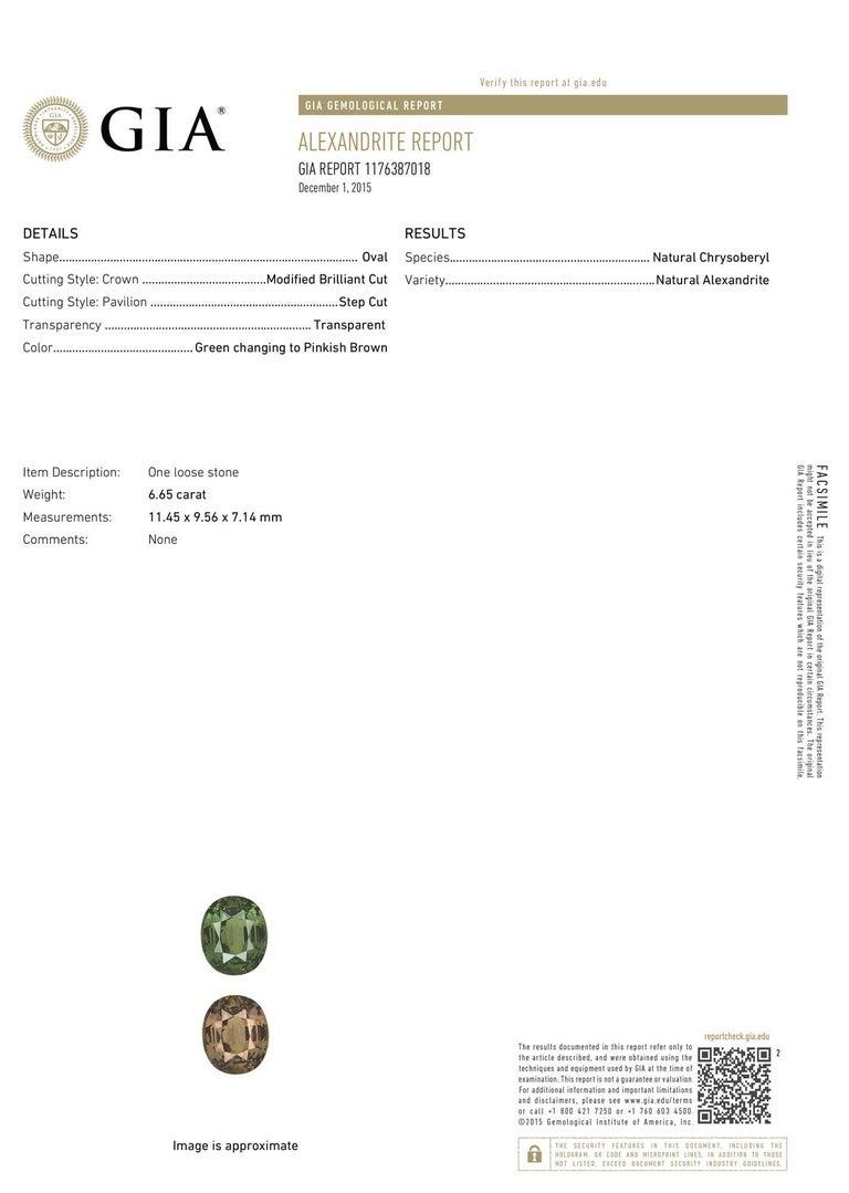 Women's 18 Karat White Gold Paulina Oval Alexandrite Halo Ring GIA 'Center - 6.65 Carat' For Sale