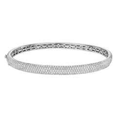 18k White Gold & Pavé Diamond Bangle '1.5ct Tw'