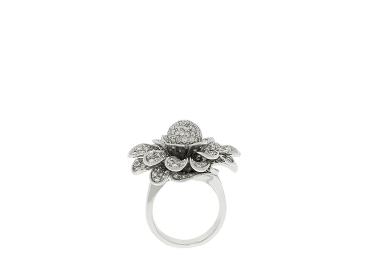 Round Cut 18 Karat White Gold Pave Diamond Flower Cocktail Ring For Sale