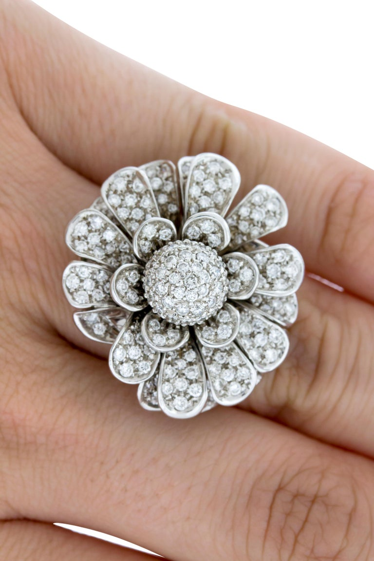 Women's 18 Karat White Gold Pave Diamond Flower Cocktail Ring For Sale