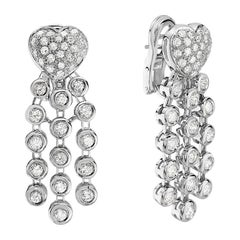 18 Karat White Gold Pave Diamond Heart Dangle Chandelier Earrings