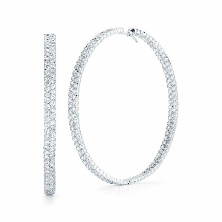 Round Cut 18 Karat White Gold Pave Diamond Hoop Earrings Inside Out 14.80 Carat For Sale