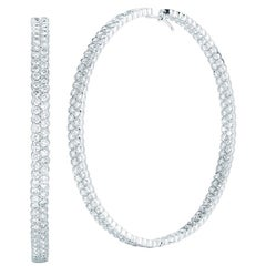 18 Karat White Gold Pave Diamond Hoop Earrings Inside Out 14.80 Carat