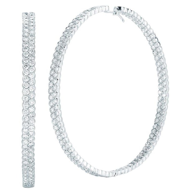 18 Karat White Gold Pave Diamond Hoop Earrings Inside Out 14.80 Carat For Sale