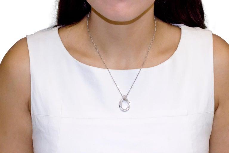 Women's 18 Karat White Gold Pave Diamond Link Pendant Necklace For Sale