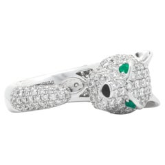 18k White Gold Pave Diamond Panther Ring with Emerald Eyes