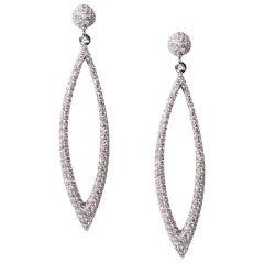 18 Karat White Gold Pave Drop Earrings