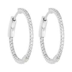 18K White Gold Pave Round Diamond Huggie Hoop Earrings