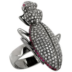 "Ileana Makri 18k White Gold  Pave White Diamond ""Ground Beetle"" Ring"