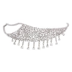 18K White Gold Pear Rose Cut Diamond Frontal Necklace
