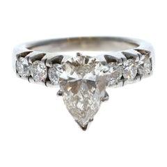 18k White Gold Pear Shape Diamond Ring 3.04ctw 9g