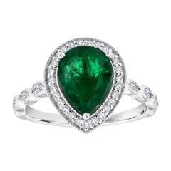 18k White Gold Pear Shape Green Emerald Halo Diamond Ring 'Center: 1.95 Carat'
