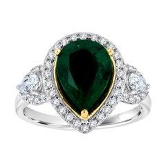 18k White Gold Pear Shape Green Emerald Halo Diamond Ring 'Center 2.68 Carat'
