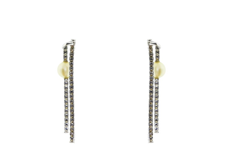 Modern 18 Karat White Gold Pearl and Diamond Dangle Drop Earrings For Sale