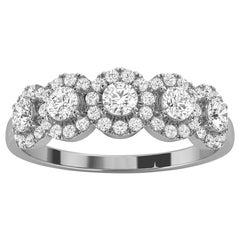 18k White Gold Petite Jenna Halo Diamond Ring '1/2 Ct. Tw'