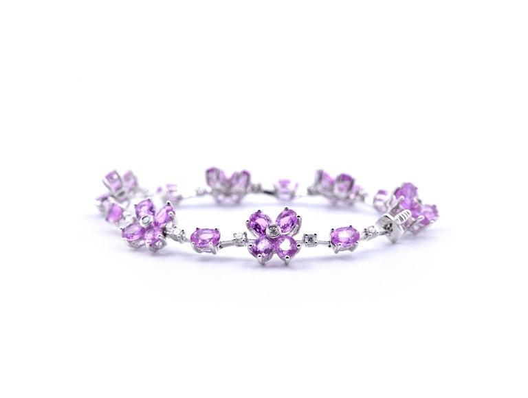 Oval Cut 18 Karat White Gold Pink Sapphire and Diamond Bracelet For Sale