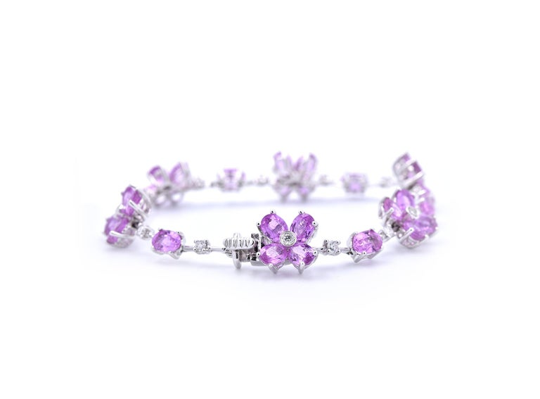 18 Karat White Gold Pink Sapphire and Diamond Bracelet In Excellent Condition For Sale In Scottsdale, AZ
