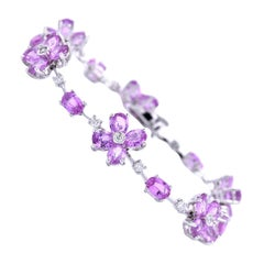 18 Karat White Gold Pink Sapphire and Diamond Bracelet