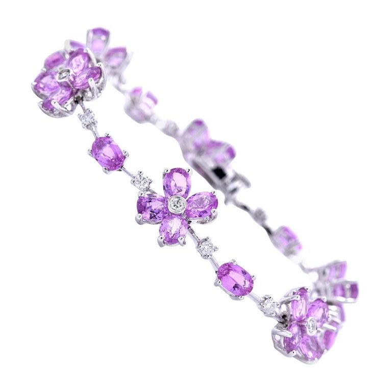 18 Karat White Gold Pink Sapphire and Diamond Bracelet For Sale